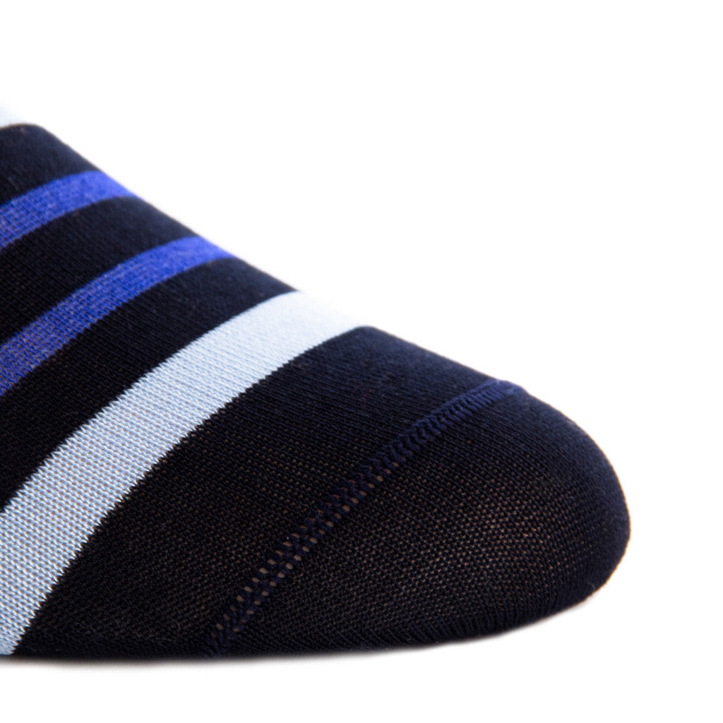 Navy with Sky and Clematis Blue Stripe Sock Linked Toe OTC - over-the-calf - dapper-classics