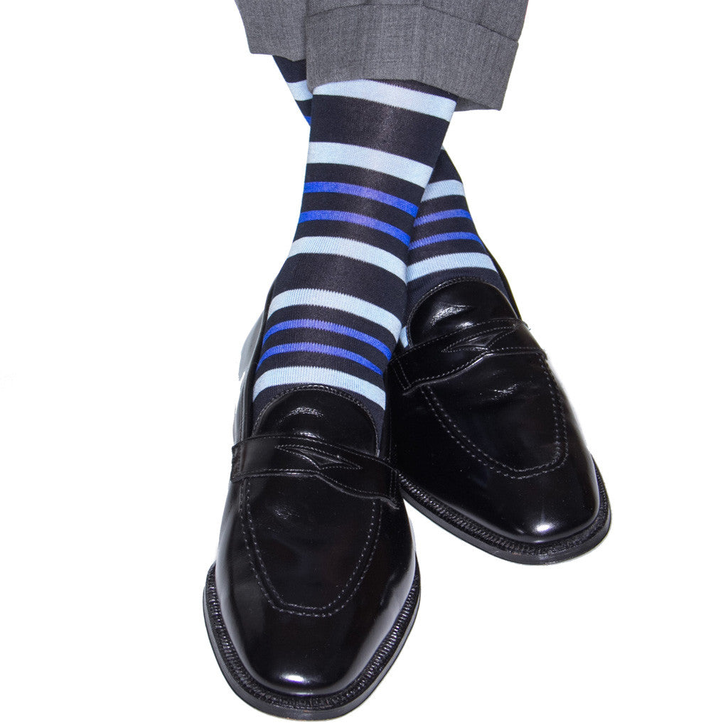 Navy with Sky and Clematis Blue Stripe Sock Linked Toe Mid-Calf - mid-calf - dapper-classics
