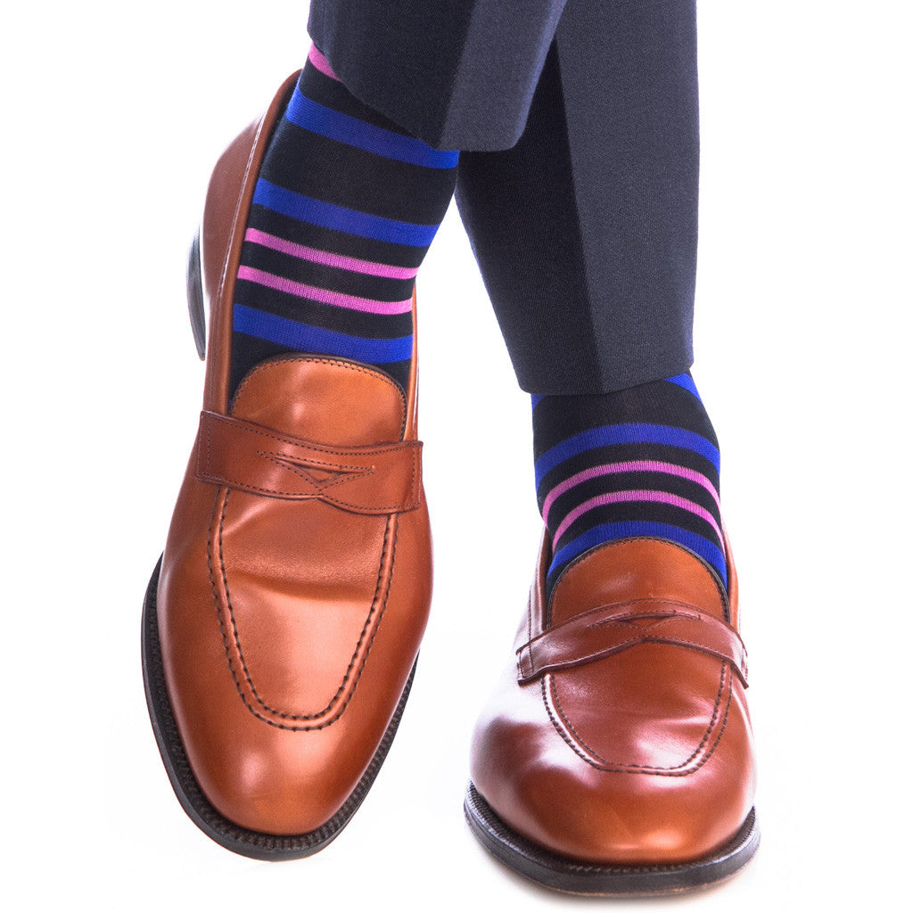 Navy with Clematis Blue and Rose Stripe Sock Linked Toe Mid-Calf - mid-calf - dapper-classics