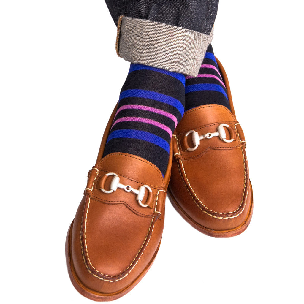 Navy with Clematis Blue and Rose Stripe Linked Toe OTC - over-the-calf - dapper-classics