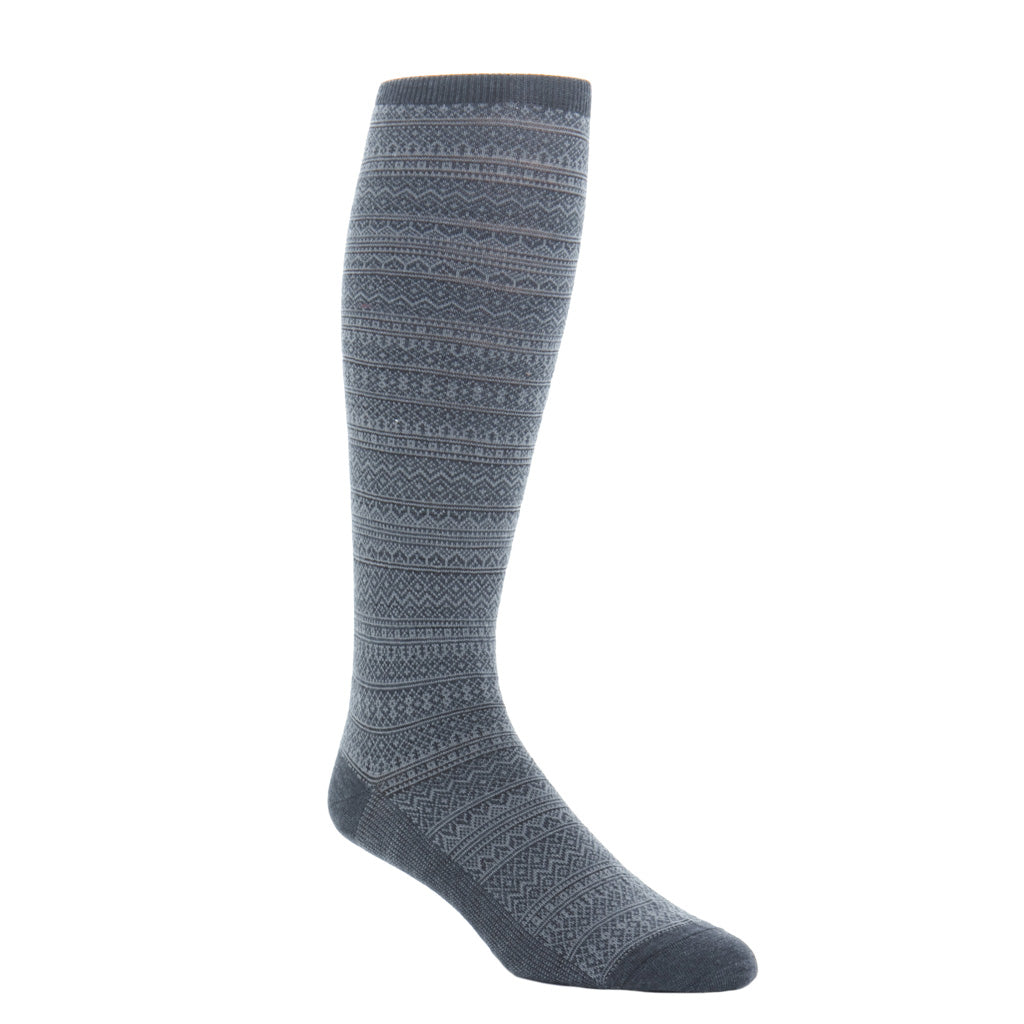 Over-the-calf Charcoal-Mercury Grey Fair Isle
