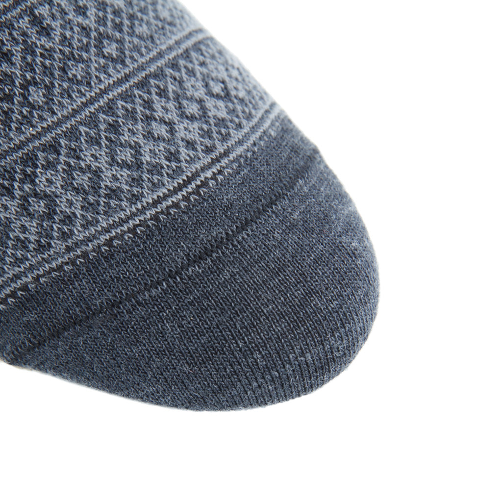 Linked-toe Charcoal and Mercury Grey Fair Isle Wool