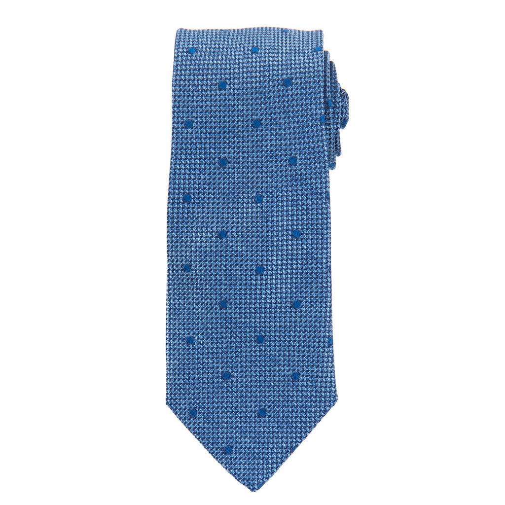 Azure Blue with Blue Dot Woven Melange Italian Silk Necktie