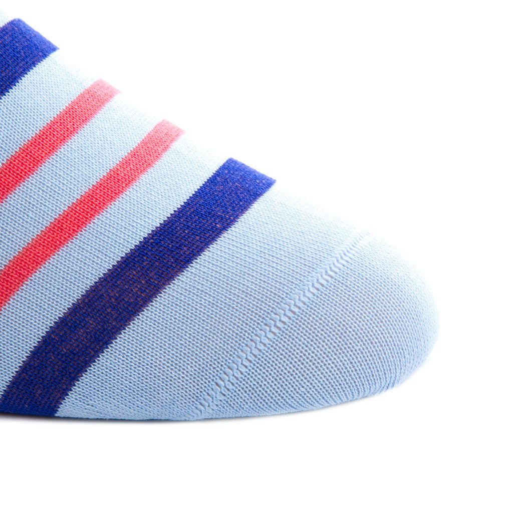 Sky Blue with Clematis Blue and Coral Double Stripe Sock Linked Toe OTC - over-the-calf - dapper-classics