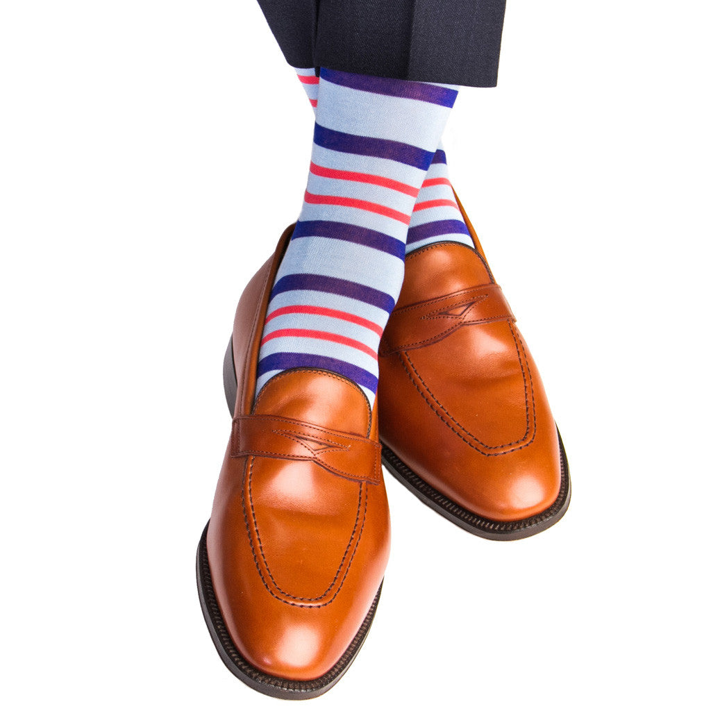 Sky Blue with Clematis Blue and Coral Double Stripe Sock Linked Toe Mid-Calf - mid-calf - dapper-classics