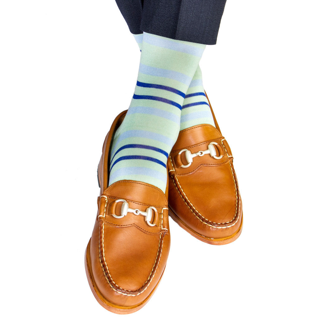f6a0eb8f3 Mint Green with Sky Blue and Clematis Blue Double Stripe Cotton Sock ...