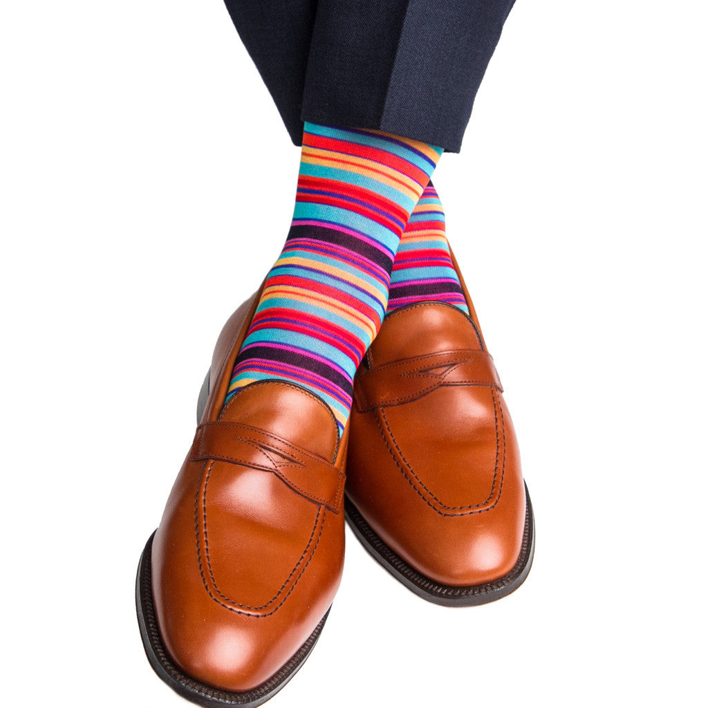 Clematis Blue with Rose and Yolk Stripe Linked Toe Mid Calf - mid-calf - dapper-classics