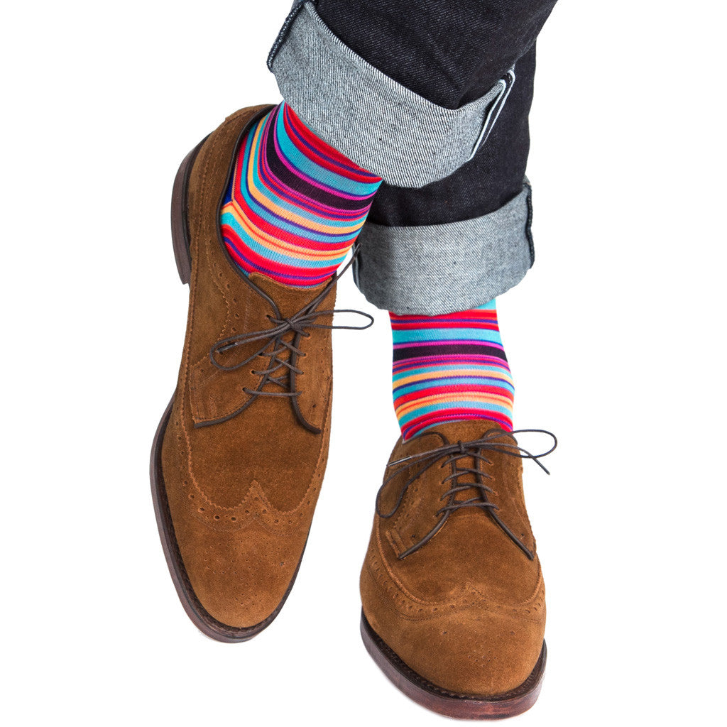 Clematis Blue with Rose, Yolk and Orange Stripe Sock Linked Toe OTC - over-the-calf - dapper-classics