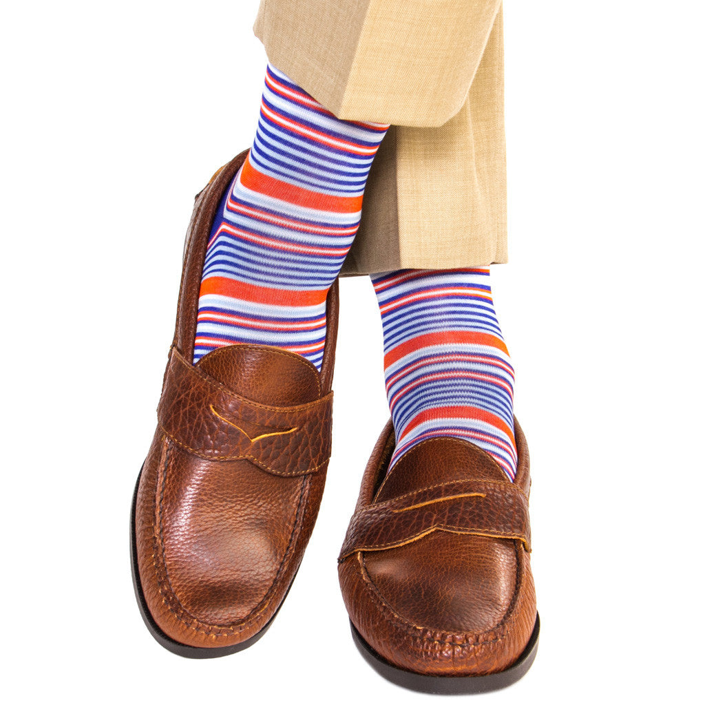 Clematis Blue with Sky Blue, Tigerlily and White Mini Stripe Sock Linked Toe OTC - over-the-calf - dapper-classics