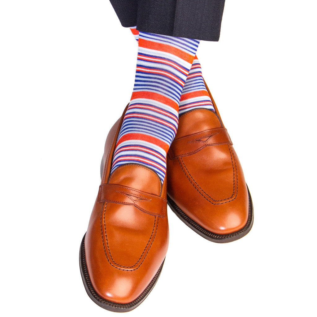 Clematis Blue with Sky Blue, Tigerlily and White Mini Stripe Sock Linked Toe Mid-Calf - mid-calf - dapper-classics