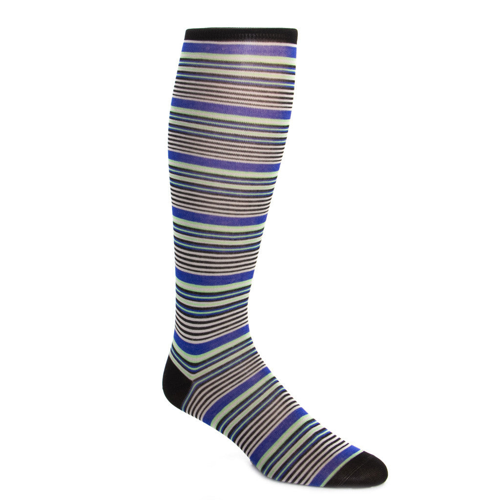 Black with Grey, Clematis Blue and Green Mini Stripe Sock Linked Toe OTC - over-the-calf - dapper-classics