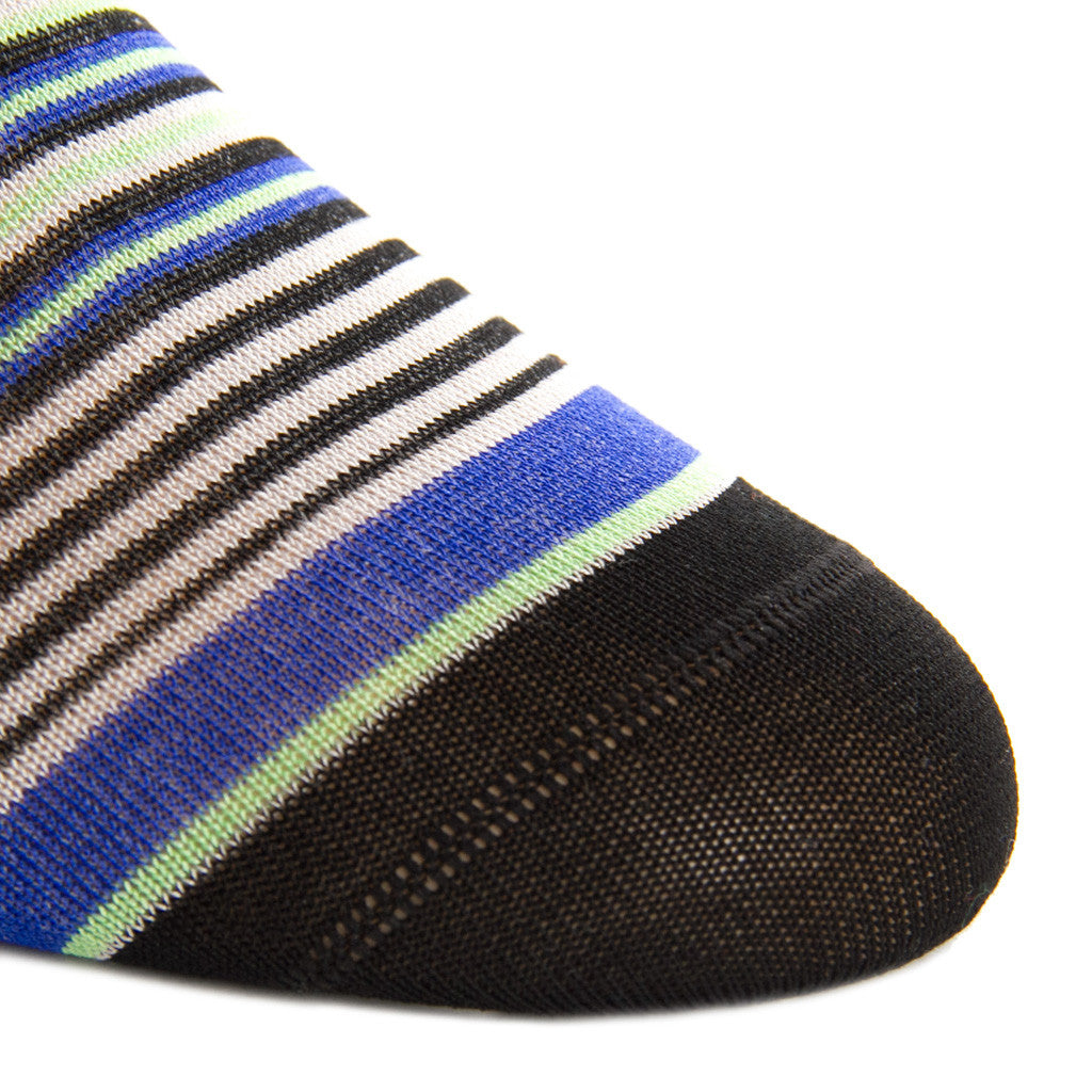 Black with Grey, Clematis Blue and Green Mini Stripe Linked Toe Mid-Calf - mid-calf - dapper-classics