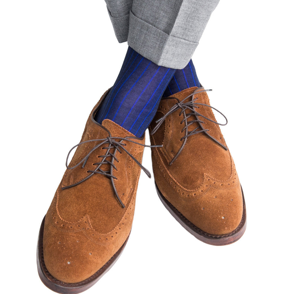 Navy with Blue Vertical Stripe Sock Linked Toe Mid-Calf - mid-calf - dapper-classics