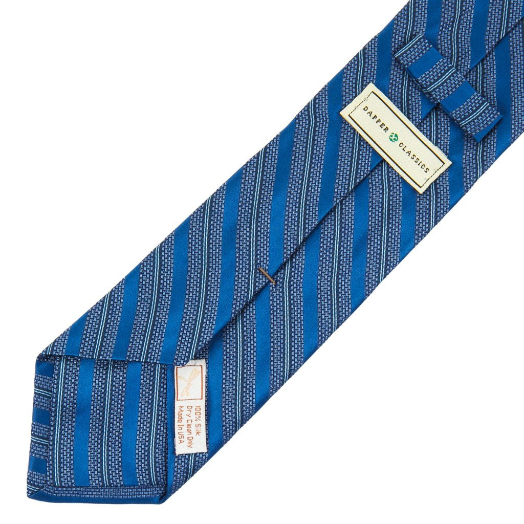 Navy with Dark Navy Satin Stripe Woven Italian Silk Necktie
