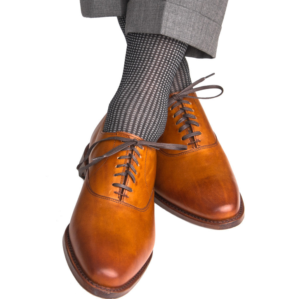 Black with Ash Grenadine Sock Linked Toe Mid-Calf - mid-calf - dapper-classics