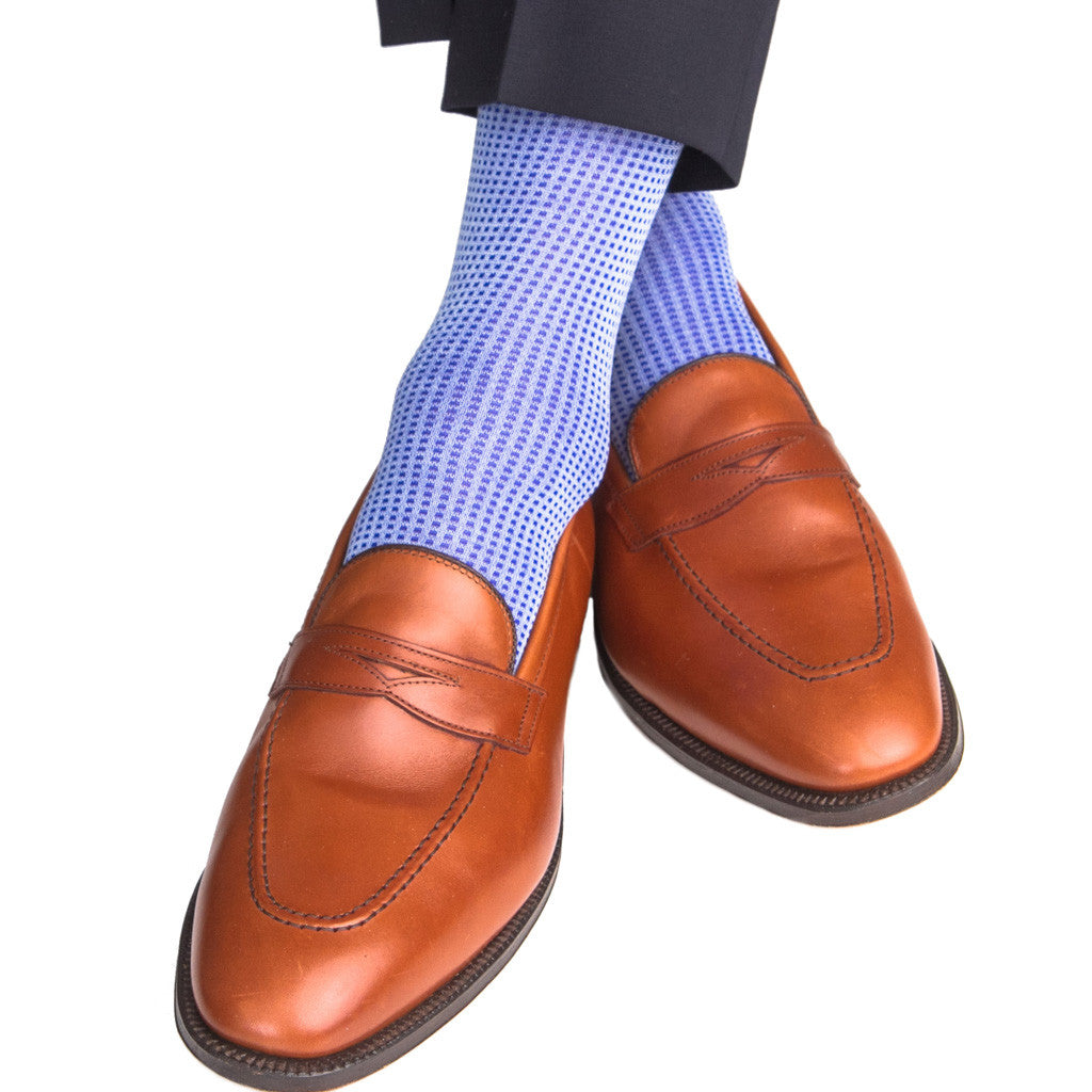 Sky Blue with Clematis Blue Grenadine Sock Linked Toe Mid-Calf - mid-calf - dapper-classics