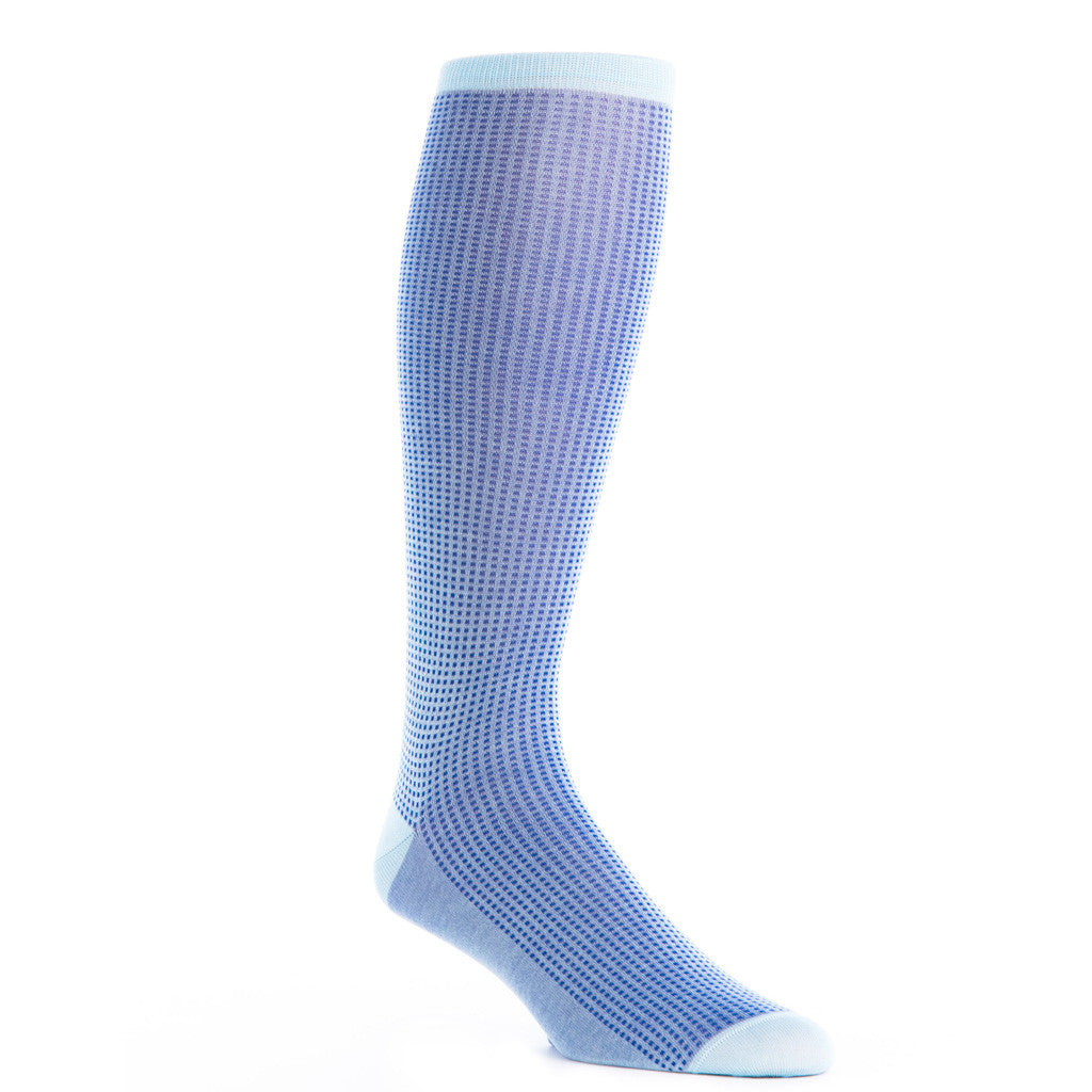 Sky Blue with Clematis Blue Grenadine Sock Linked Toe OTC - over-the-calf - dapper-classics