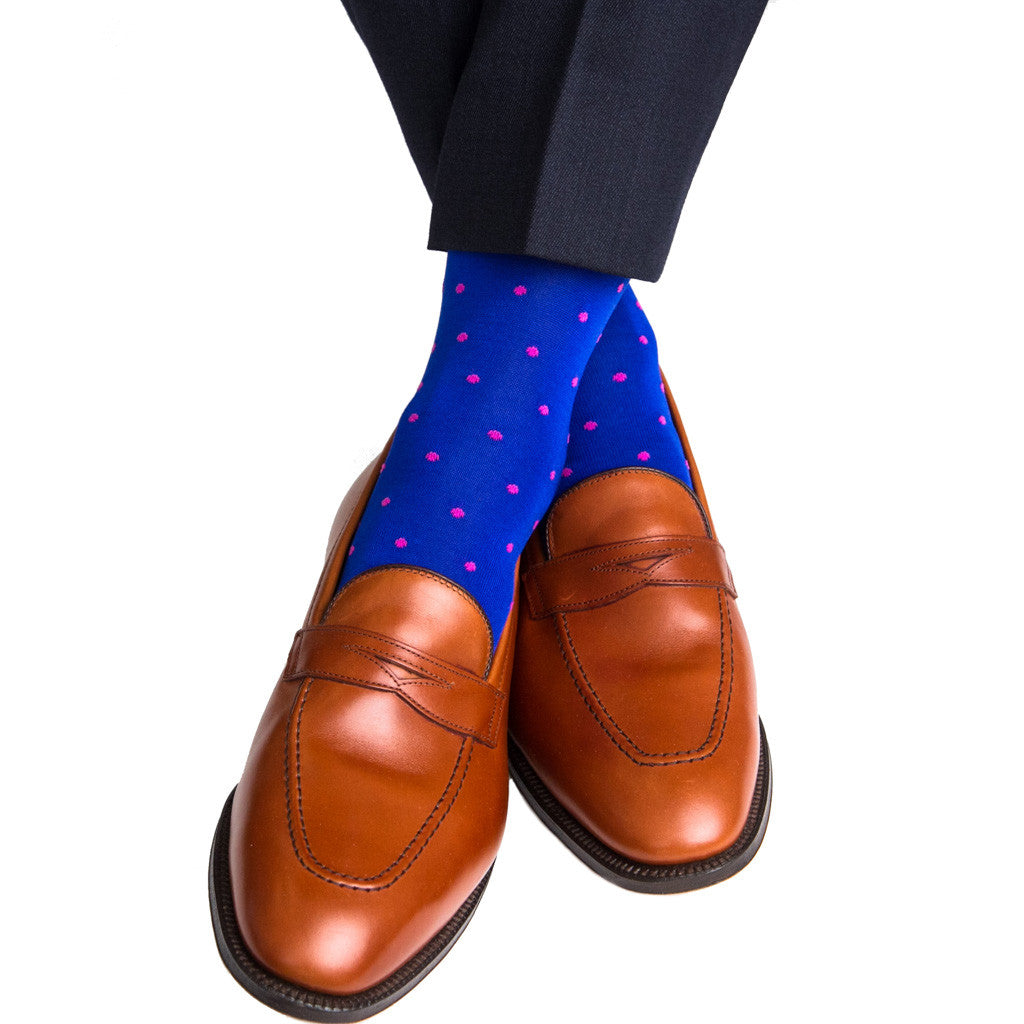 Clematis Blue with Pink Dot Linked Toe Mid-Calf - mid-calf - dapper-classics