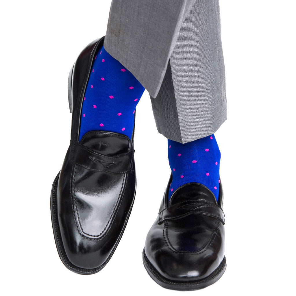 Clematis Blue with Rose Dot Linked Toe OTC - over-the-calf - dapper-classics