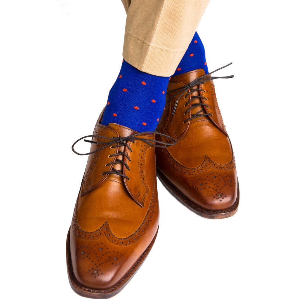 Clematis Blue with Tigerlily Orange Dot Linked Toe OTC - over-the-calf - dapper-classics