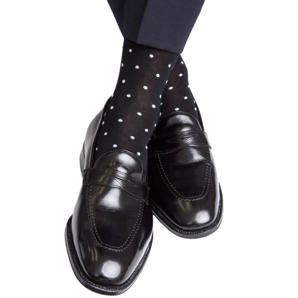 Black with Ash Dot Sock Linked Toe Mid-Calf - mid-calf - dapper-classics