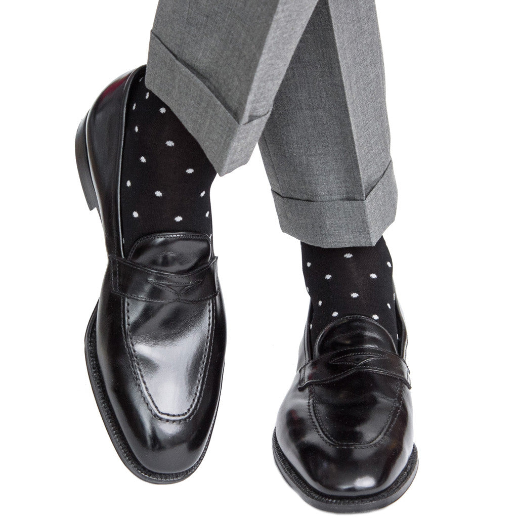 Black with Grey Dots Linked Toe OTC - over-the-calf - dapper-classics