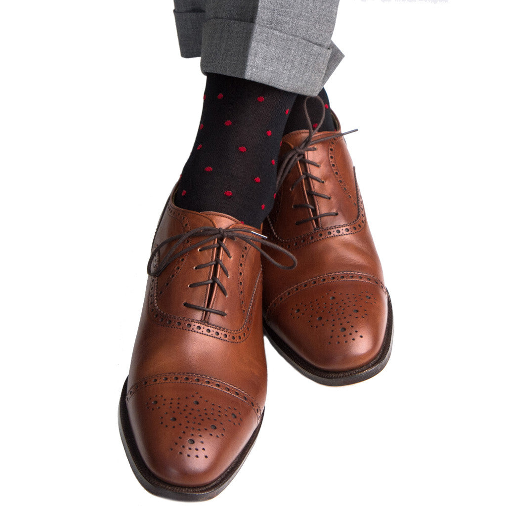 Black with Red Dot Socks Linked Toe OTC - over-the-calf - dapper-classics