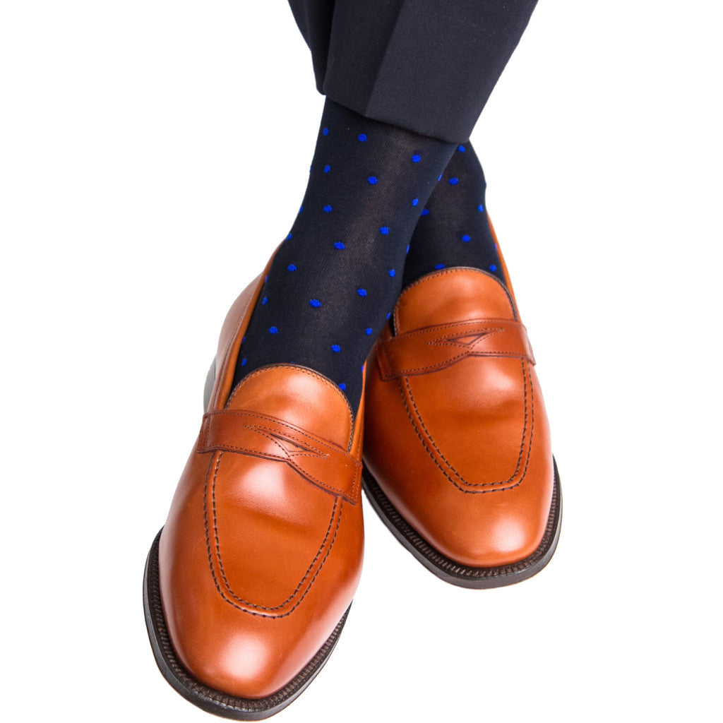 Navy with Clematis Blue Dot Sock Linked Toe Mid-Calf - mid-calf - dapper-classics