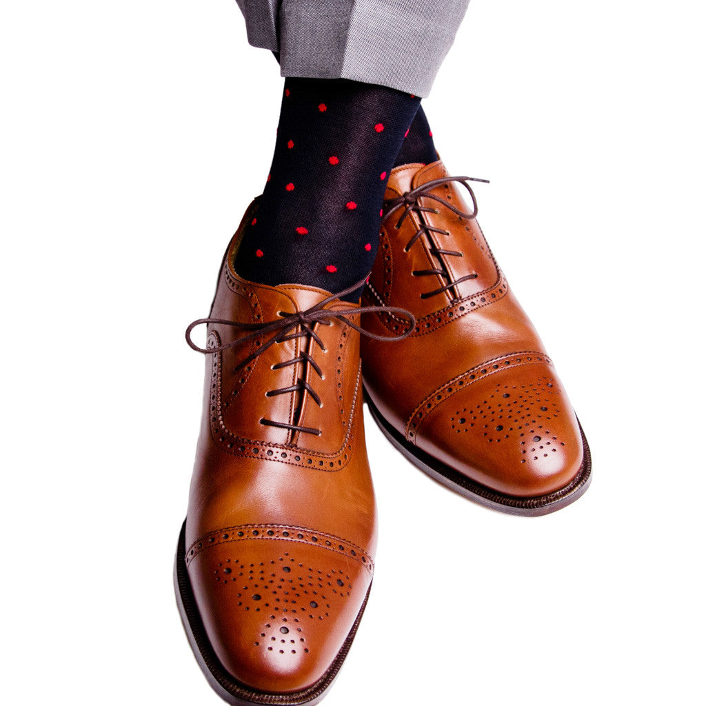 Navy with Red Dot Socks Linked Toe Mid-Calf - mid-calf - dapper-classics