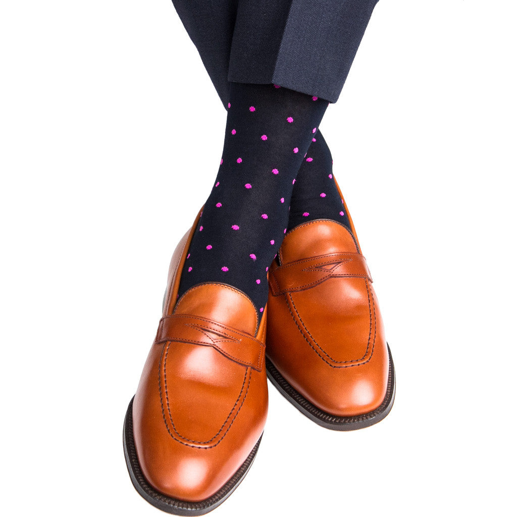 Navy with Rose Dot Sock Linked Toe Mid-Calf - mid-calf - dapper-classics