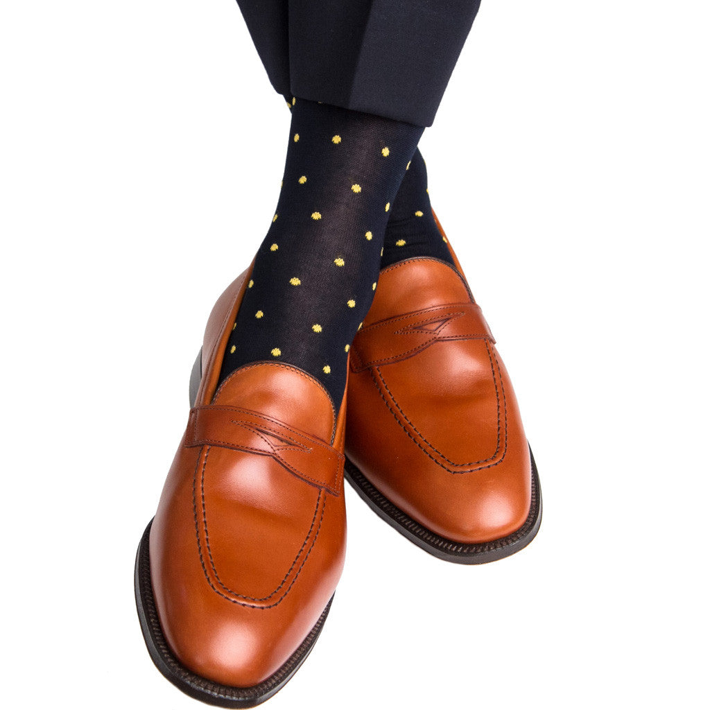 Navy with Yellow Dot Sock Linked Toe Mid Calf - mid-calf - dapper-classics