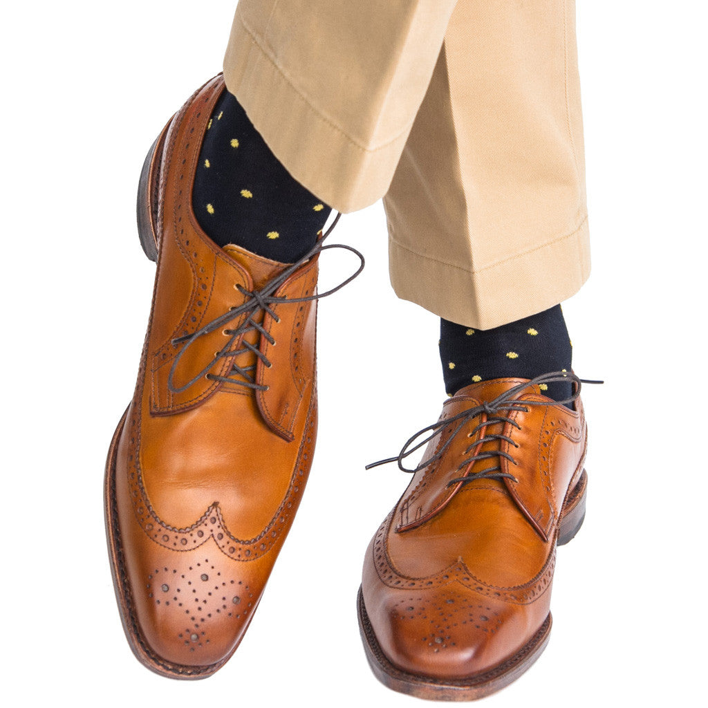 Navy with Yellow Dot Sock Linked Toe OTC - over-the-calf - dapper-classics