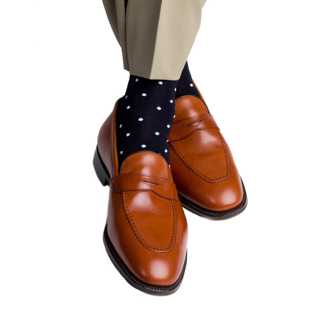Navy with Sky Blue Dot Socks Linked Toe Mid-Calf - mid-calf - dapper-classics