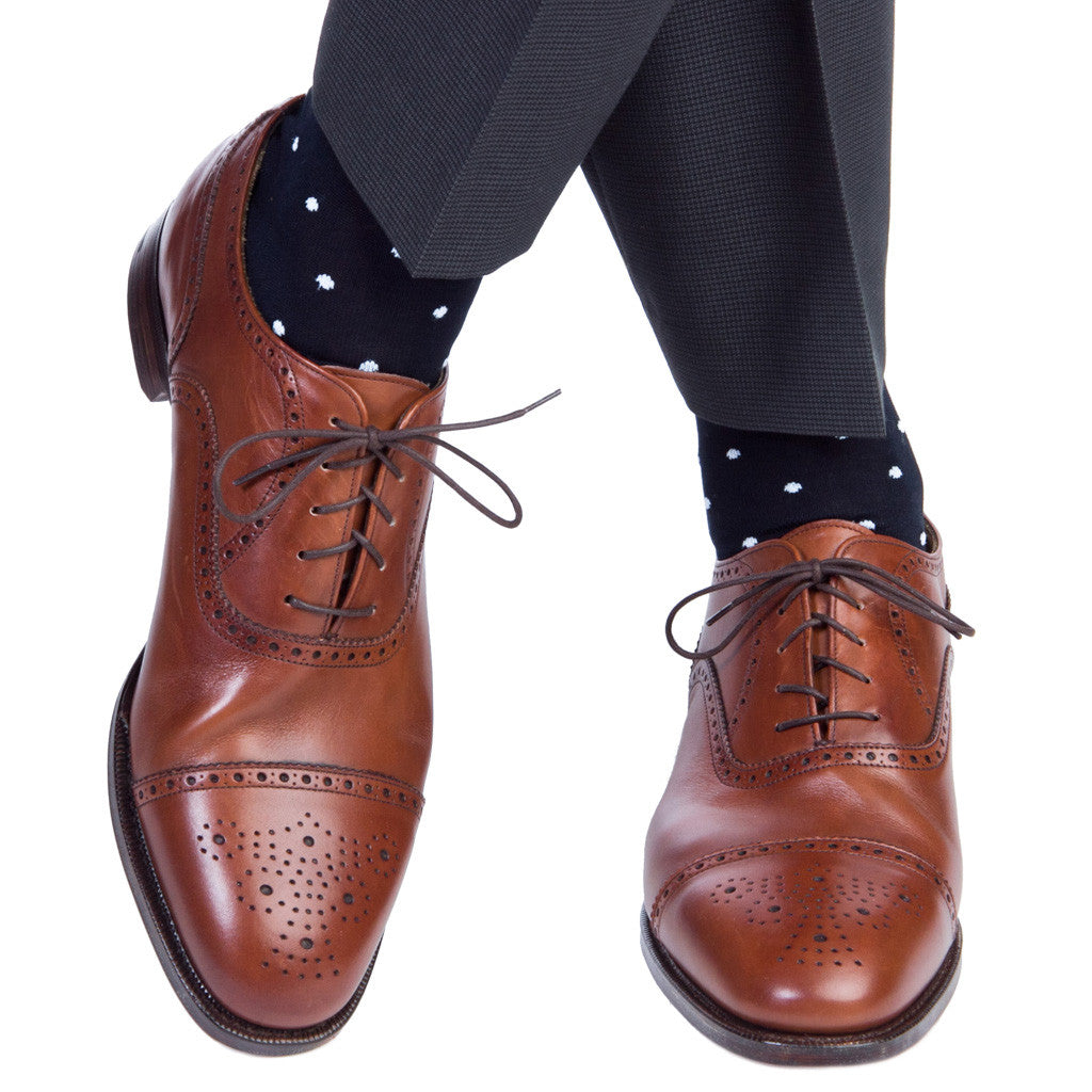 Navy with Sky Blue Polka Dot Socks Linked Toe OTC - over-the-calf - dapper-classics