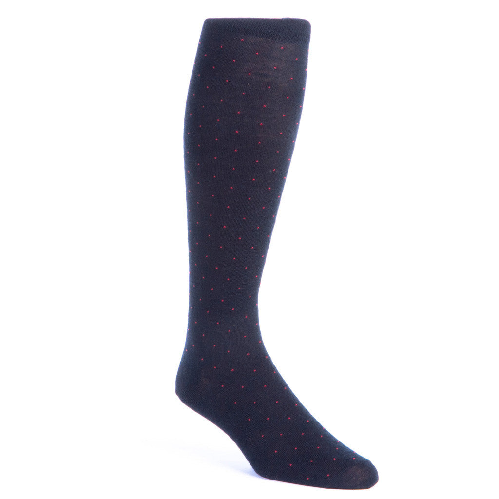 Black with Red Pin Dot Sock Fine Merino Wool Linked Toe OTC - over-the-calf - dapper-classics