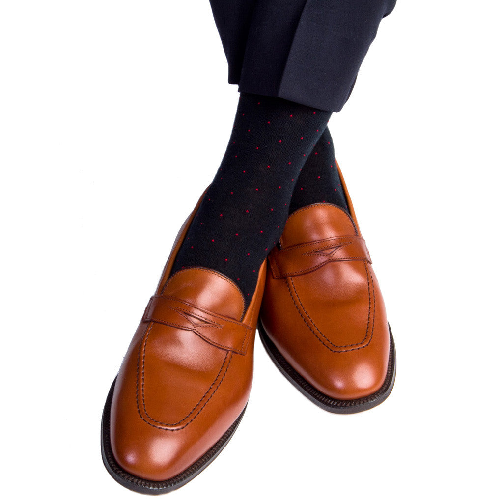 Black with Red Pin Dot Socks Fine Merino Wool Linked Toe Mid-Calf - mid-calf - dapper-classics