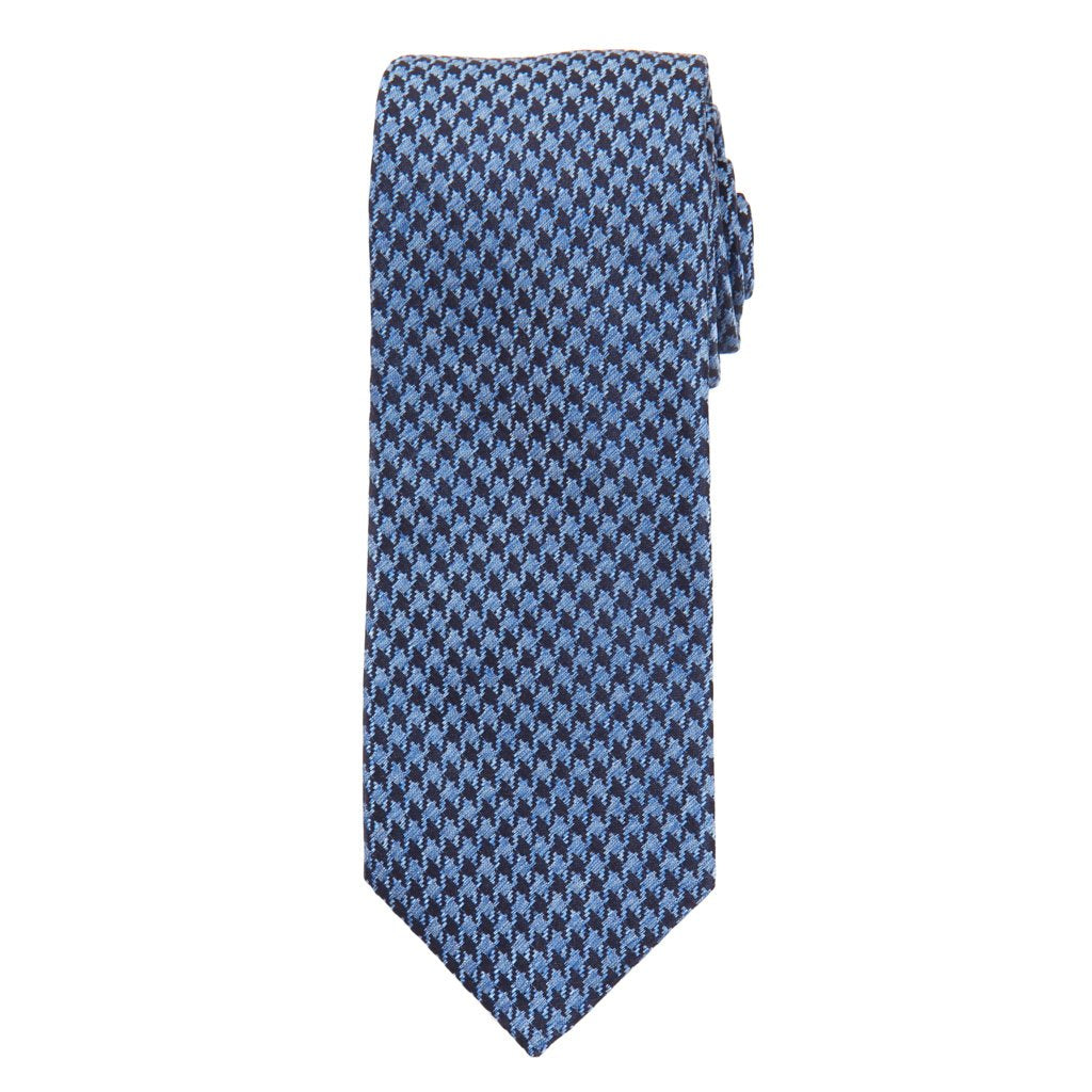 Navy and Azure Blue Houndstooth Cotton/Silk Printed Woven Necktie
