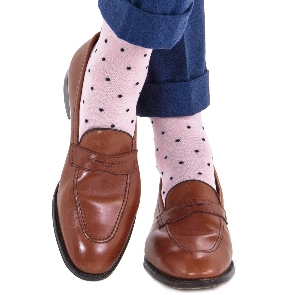 Pink with Navy Polka Dot Socks Linked Toe OTC - over-the-calf - dapper-classics