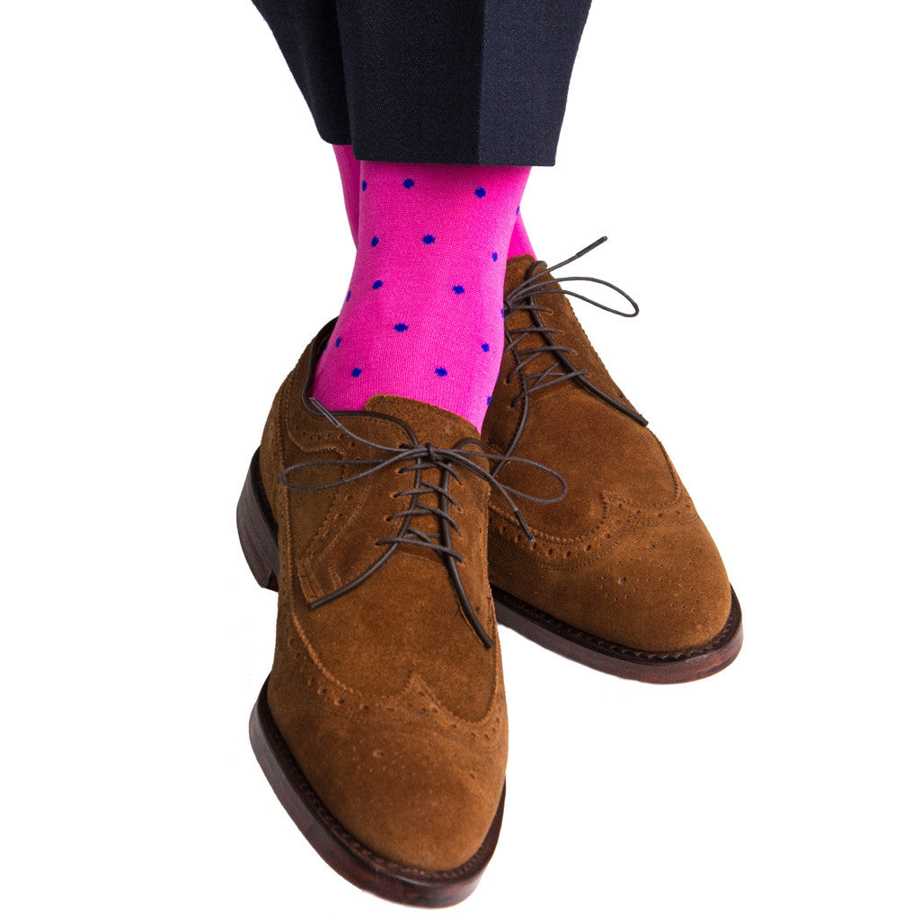 Rose with Clematis Blue Dot Linked Toe Mid-Calf - mid-calf - dapper-classics