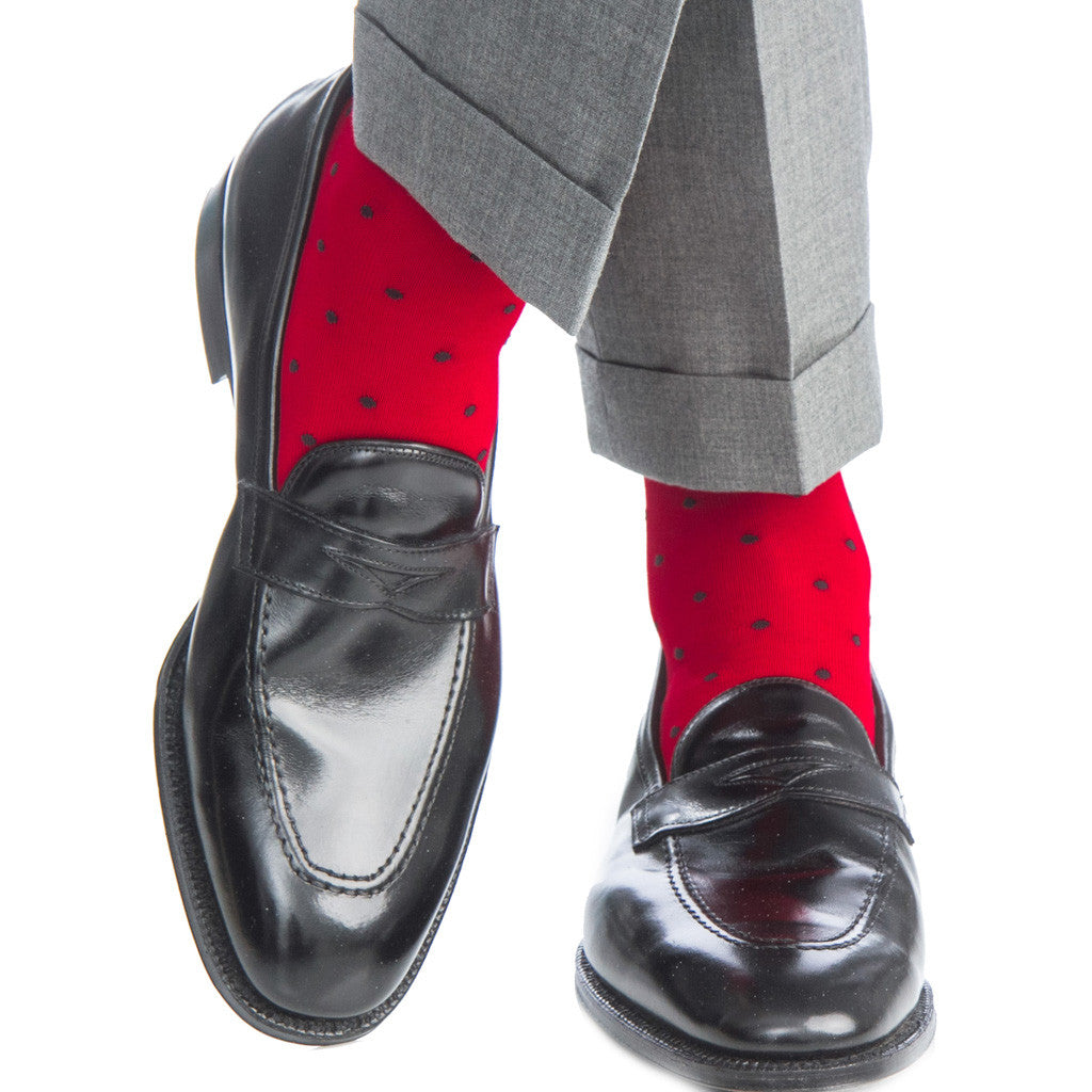 Red with Navy Polka Dot Socks Linked Toe OTC - over-the-calf - dapper-classics