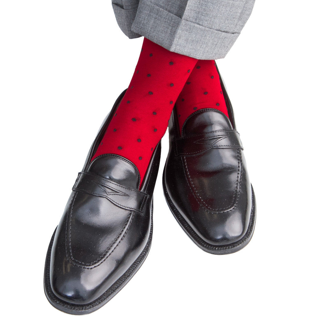 Red with Navy Dot Linked Toe Mid-Calf - mid-calf - dapper-classics