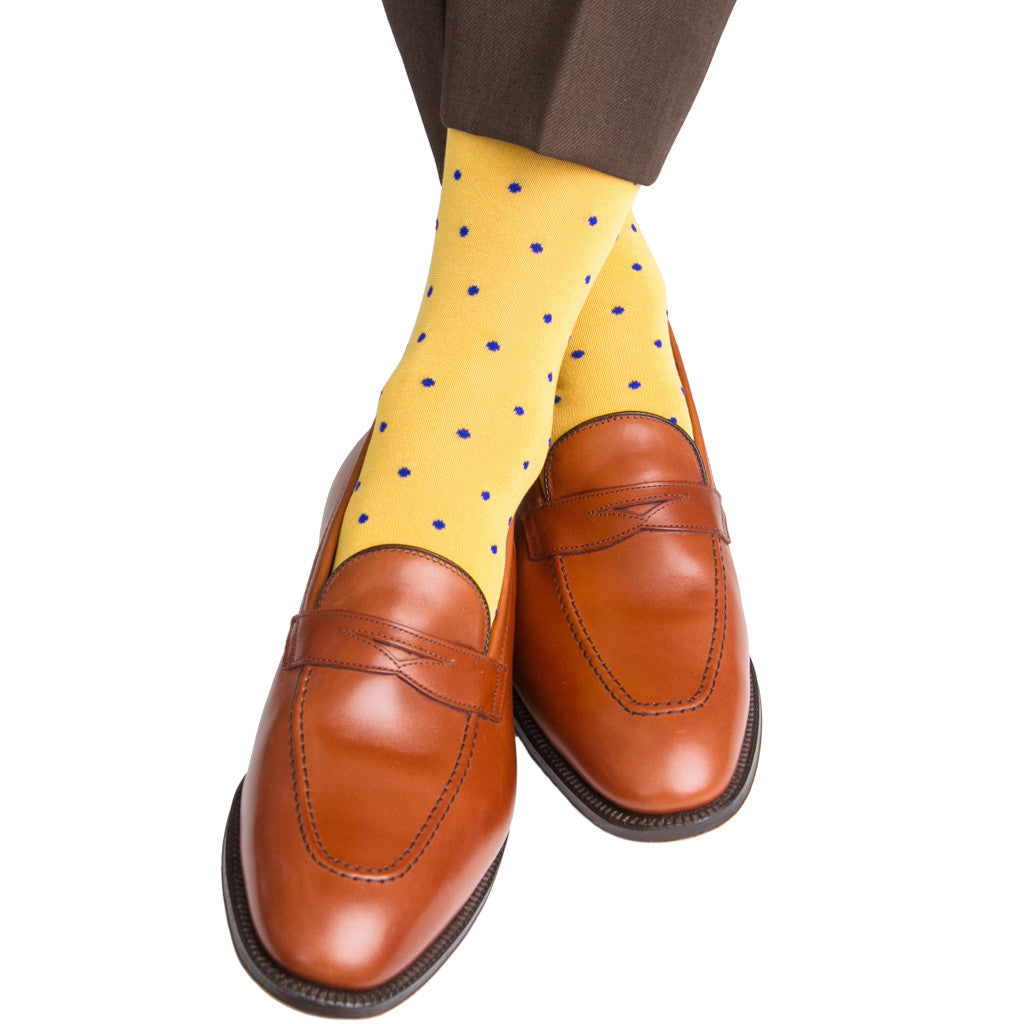Yolk with Clematis Blue Dot Sock Linked Toe Mid-Calf - mid-calf - dapper-classics