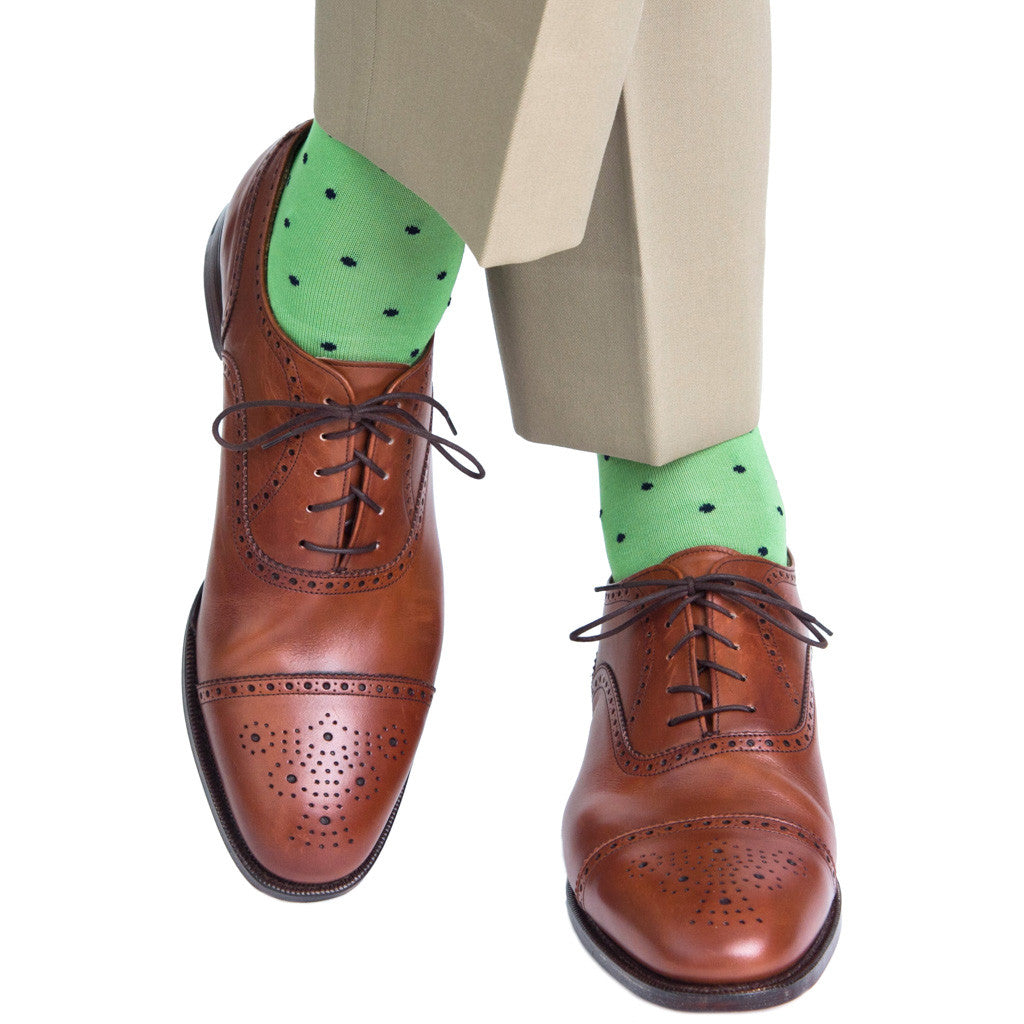 Green with Navy Dot Sock Linked Toe Mid-Calf - mid-calf - dapper-classics