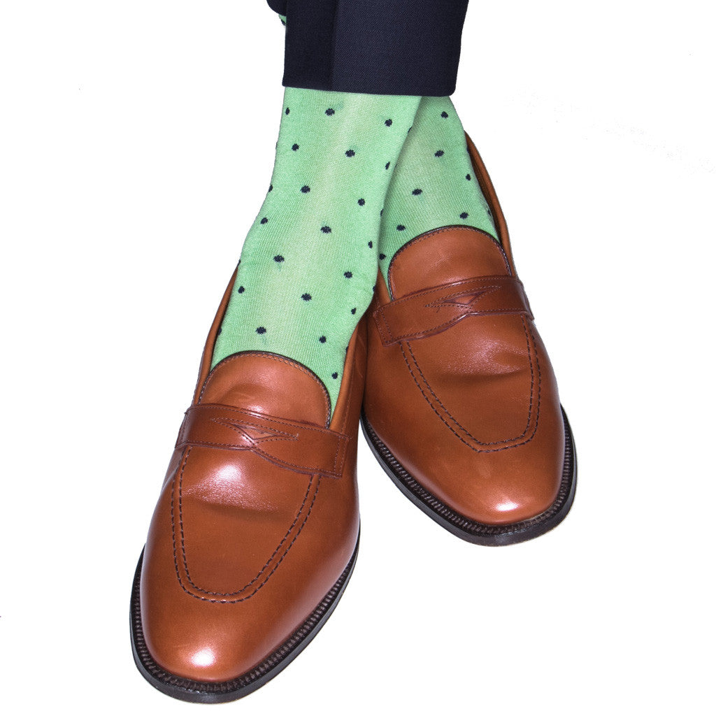 Green with Navy Dot Sock Linked Toe OTC - over-the-calf - dapper-classics