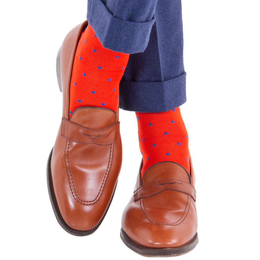 Tigerlily with Clematis Blue Dot Socks Linked Toe Mid-Calf - mid-calf - dapper-classics