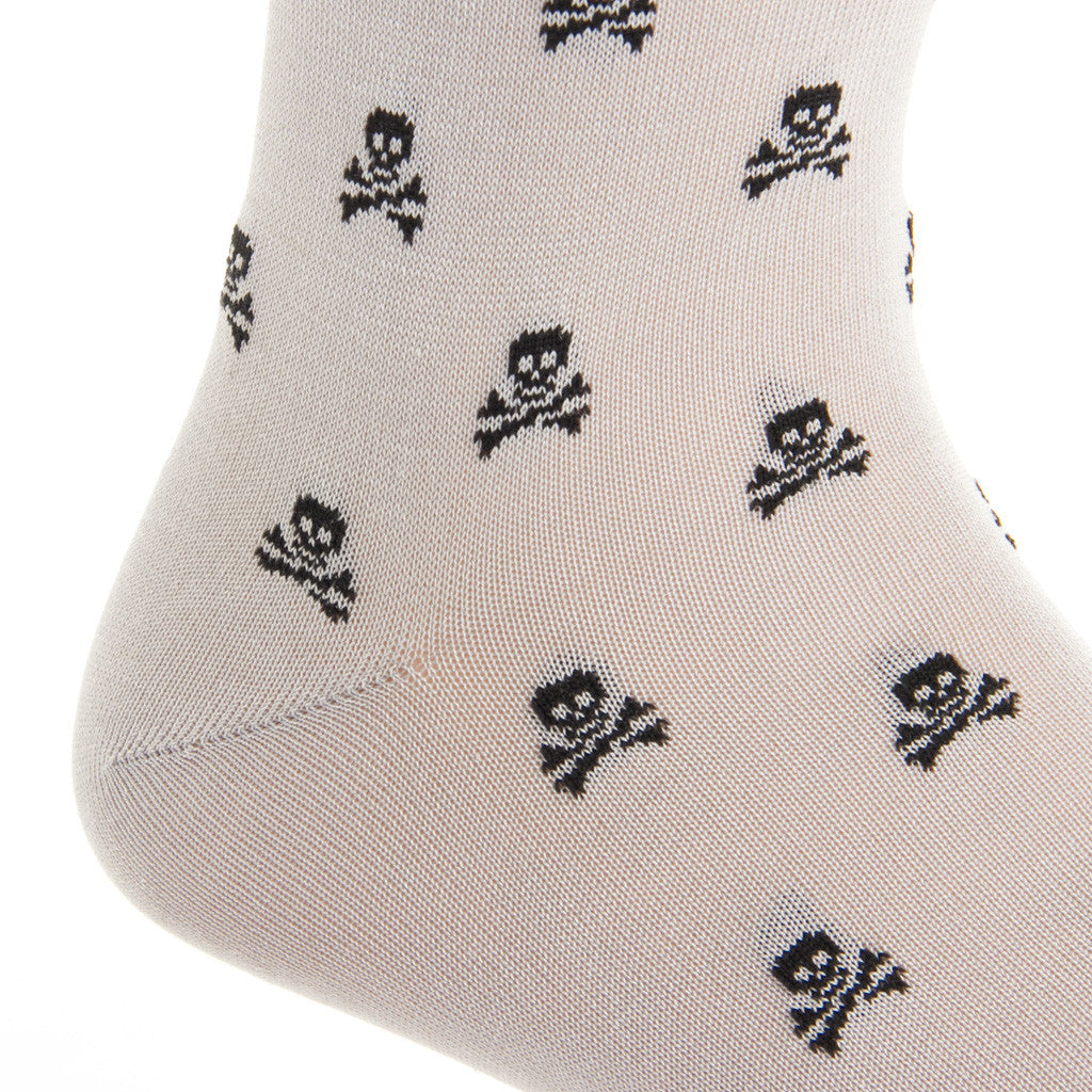 Ash with Black Skull and Crossbone Sock Linked Toe Mid-Calf - mid-calf - dapper-classics