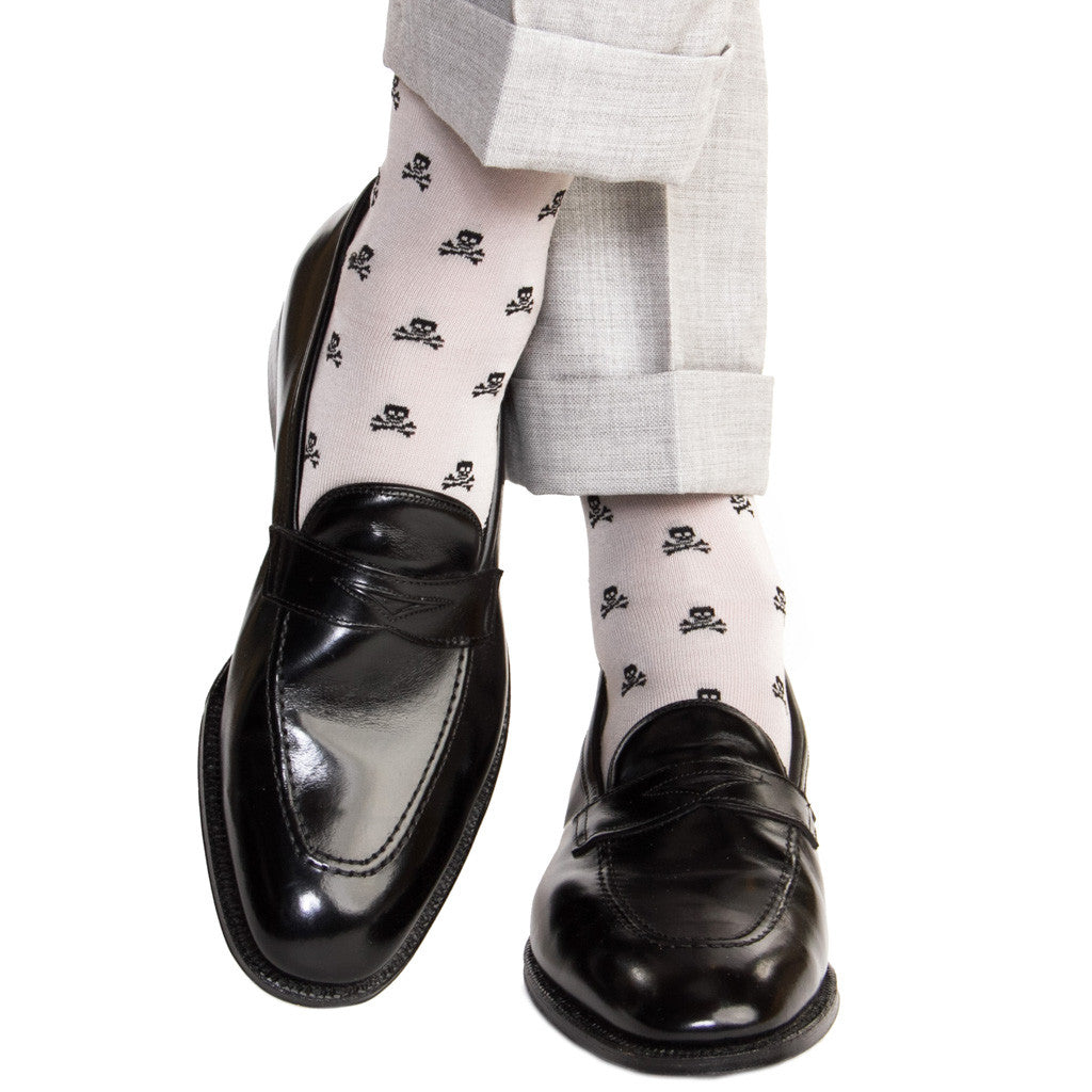 Ash with Black Skull and Crossbones Linked Toe OTC - over-the-calf - dapper-classics