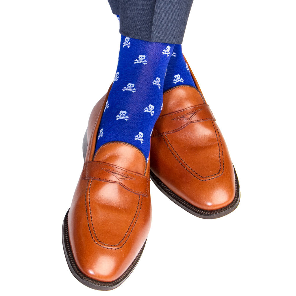 Clematis Blue with Sky Blue Skull and Crossbone Sock Linked Toe Mid-Calf - mid-calf - dapper-classics