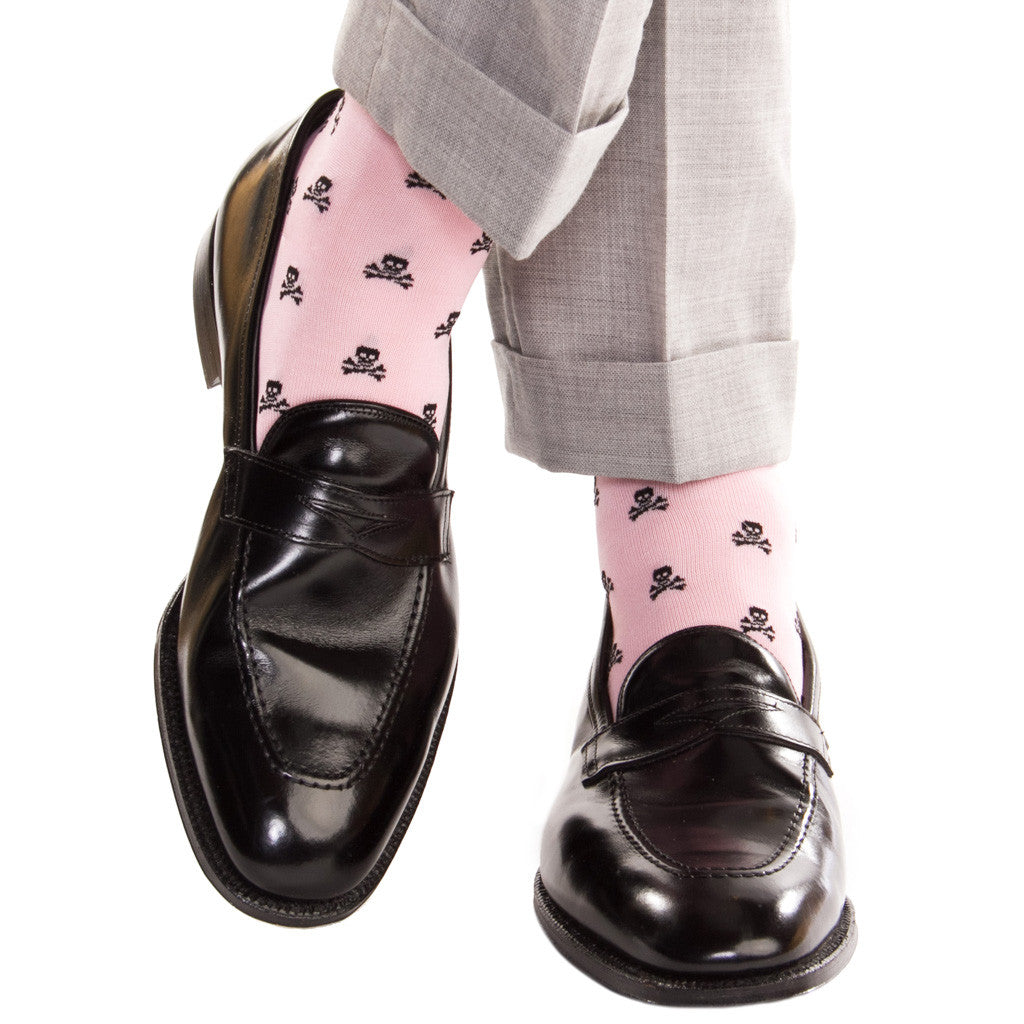 Pink with Black Skull and Crossbone Sock Linked Toe OTC - over-the-calf - dapper-classics