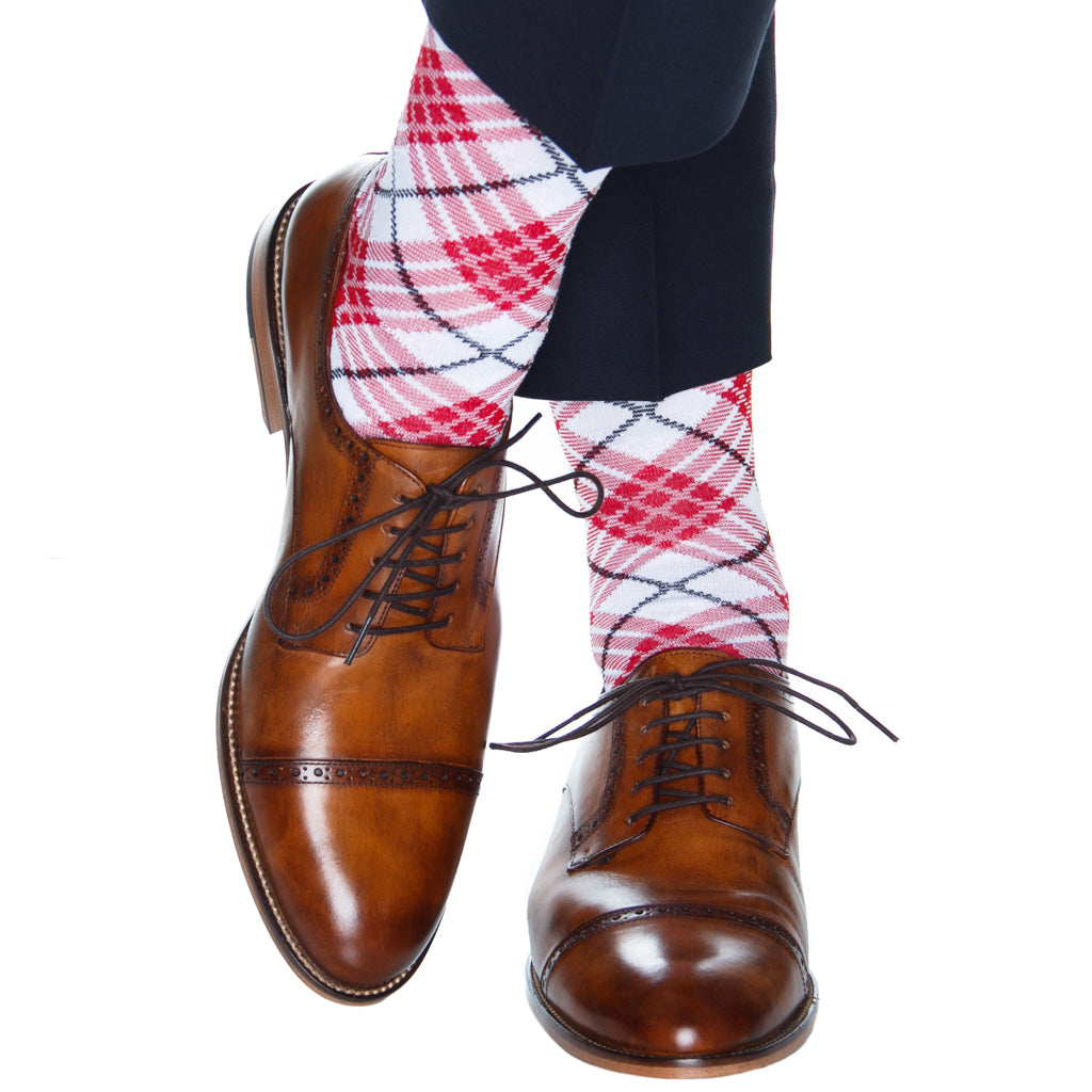 argyle sock red white and black